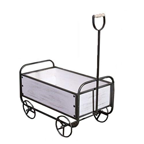 Flower Gardening Home American Industrial Retro Flower Stand Personality Storage Cart Home Garden Flower Frame Decoration Decoration (Color : White) (Carts Set)