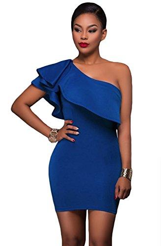 Neuf pour femme Bleu une épaule asymétrique à volants Mini robe Club Wear Robe d'été Casual Party Robe taille S UK 8–10EU 36–38
