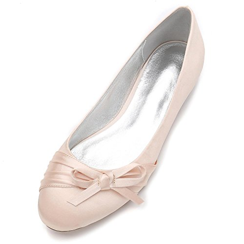 Elegant high shoes Zapatos De La Boda De Las Mujeres Punta Redonda Cerrado Pajarita Nupcial Partido De Gran TamañO/F5049-15 Champagne