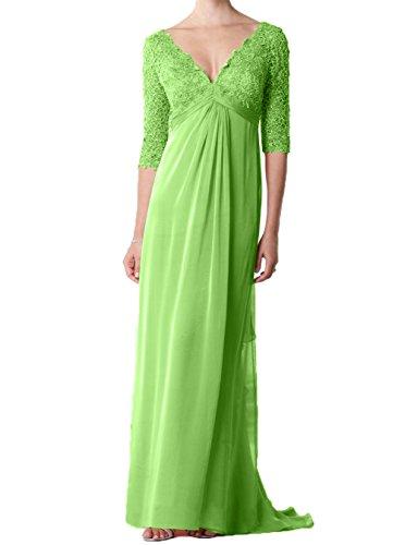 Elegant Mit lang Langarm Partykleider Brautmutterkleider Charmant Grün Abendkleider Spitze Damen Chiffon 50wPa17