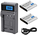 Battery (2-Pack) and LCD USB Charger for Ricoh WG-40, WG-50, WG-60 Digital...