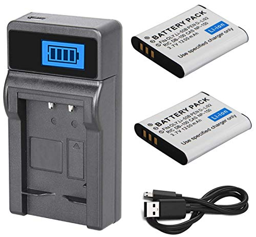 (Battery (2-Pack) and LCD USB Charger for Ricoh WG-40, WG-50, WG-60 Digital Camera)