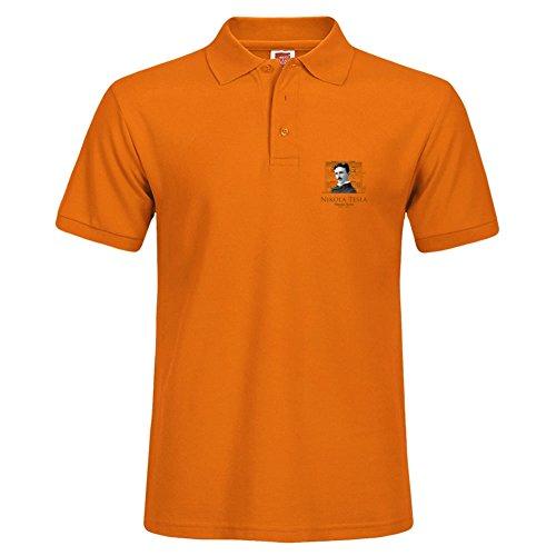 New Men Stylish Short Sleeve Orange Casual Polo Shirt Xxx-large T-shirts Tee Tops Nikola Tesla