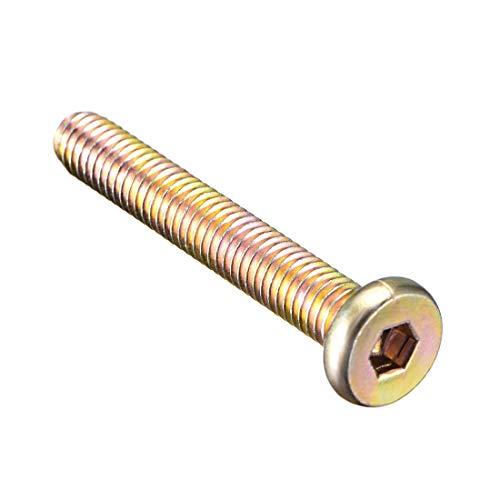 (uxcell M6x40mm Furniture Bolt Nut Hex Socket Drive Round Head Screw Zinc Plated 10)