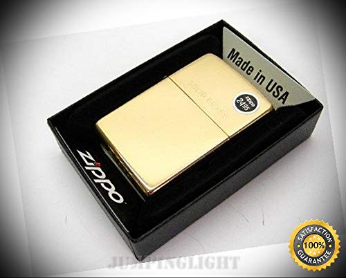 (High Polish Brass with Solid Brass Engraved Lid Classic Lighter 254 - Premium Lighter Fluid (Comes Unfilled) - Made in)