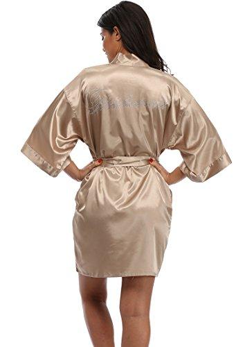 - The Bund Women's Short Kimono Robes for Bridesmaid Khaki S Size
