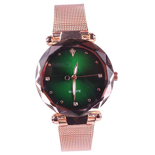 Shining Round Dial (ADAHX Quartz Watch, Starry Sky Gold Mesh with Waterproof Simple Round Dial Wrist Watches, Ladies Watch Birthday, Anniversary, Green)