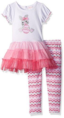 Youngland Girls' Toddler Easter Bunny Applique Tutu Mini Dress & Knit Chevron Legging, Pink/White, - Clothes Easter