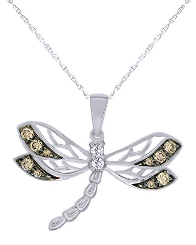 1/4 CT Round Cut Natural Champagne and White Diamond Dragonfly Pendant Necklace in 10K Solid White - 10k Dragonfly Gold Pendant