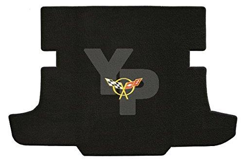 (C5 Corvette Coupe Classic Loop Black Trunk Mat - Yellow Crossed Flags Logo)