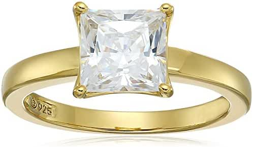 Platinum-Plated Sterling Silver Princess-Cut Swarovski Zirconia  Solitaire Engagement Ring