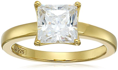 Ring Solitaire Prong Setting (Yellow-Gold Plated Sterling Silver Princess-Cut Solitaire Ring made with Swarovski Zirconia (2 cttw), Size 8)