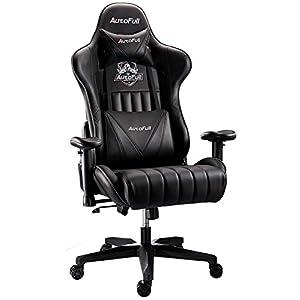 AutoFull Chaise Gaming Ergonomique Chaise de Bureau Fauteuil Cuir PU Chaise Gamer,Hauteur D'assise et Inclinaison du…