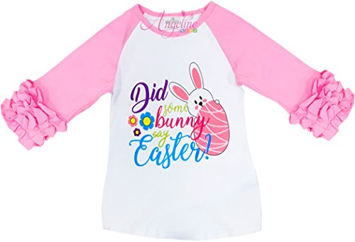 Angeline Boutique Clothing Girls Easter Bunny Did Some Bunnies Say Easter Raglan Tee T-Shirt 12-24M/XXS (Easter Clothes For Kids)