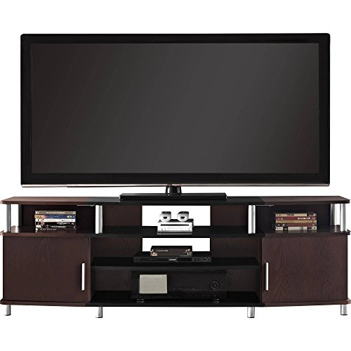 Indoor Carson XL Black and Cherry TV Stand Entertainment Center Media Storage Console Furniture Cabinet Wood Home for TVs up to 70