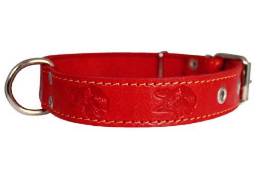 Genuine Leather Dog Collar 1.25″x22″ Fits 15″-20″ Neck, Red, German Shepherd, My Pet Supplies