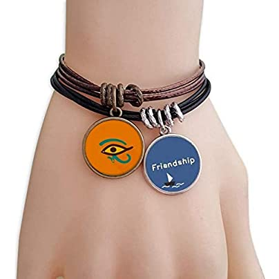 ProDIY Ancient Egypt Abstract Eye Pattern Friendship Bracelet Leather Rope Wristband Couple Set Estimated Price -