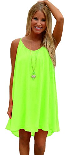 ReachMe Womens Summer Sexy Vibrant Color Chiffon Bathing Suit Cover Up(4 Solid Yellow S)