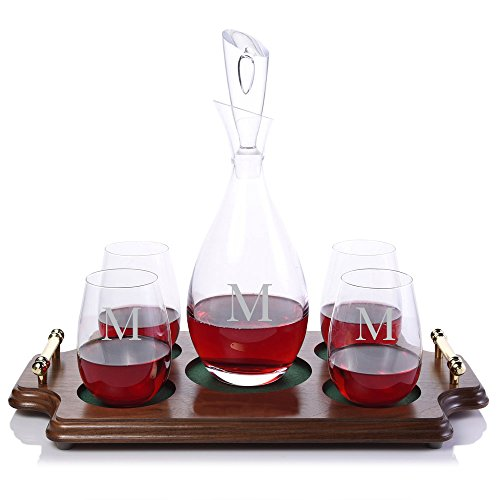 Personalized Crystalize Tear Drop Crystal Wine Decanter and 4 Crystal Stemless Wine Glasses & Wood Serving Presentation Tray Engraved & Monogrammed (Tray Chianti)