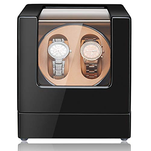 [Newly Upgraded] Sepano Double Automatic Watch Winder, Quiet Mabuchi Motor,Wood Shell Piano Paint Exterior Dual Watches Rotating Display Storage Case Box (Black+Brown)