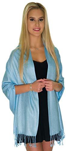 Pashmina Shawls and Wraps - Large Scarfs for Women - Party Bridal Long Fashion Shawl Wrap with Fringe by ShineGlitz (Sky Blue) ()