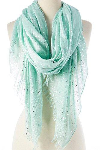 Cotton Metallic Scarf - Women Lightweight Soft Cotton with Metallic Silver Splash Shawl Scarf Abstract Scarf Windowpane Scarf (Green 3)