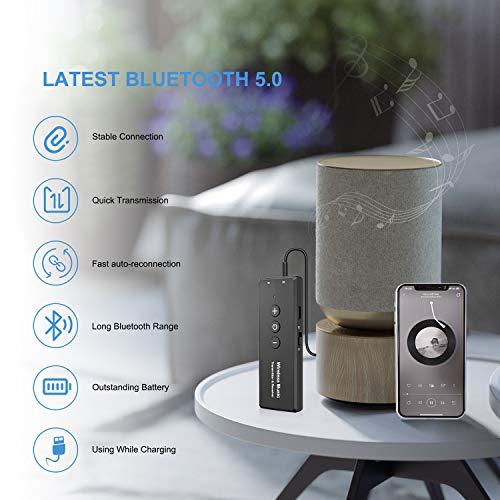 Transmisor Receptor Bluetooth 5.0 , Transmisor Adaptador Bluetooth Jack 3 en 1con 3,5 mm Cable de Audio Inalámbrico para Coche, Ordenador, Portatil,Auriculares,Altavoces,Radio