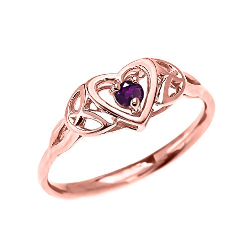 Dainty 10k Rose Gold Trinity Knot Heart Solitaire Amethyst Engagement and Proposal Ring (Size 7)