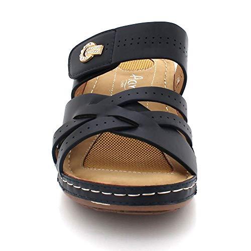 Comodidad Ligero Azul Abierta Cuña Sandalias Día Mujer Cada Punta Tamaño Tacón Señoras De Casual Verano Marino Zapatos Ponerse 0UnqSBPw