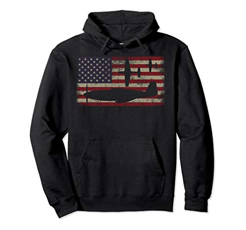 P51 Mustang WW2 Fighter Plane USA American Flag Gift Pullover Hoodie - Mustang Ww2 Fighter