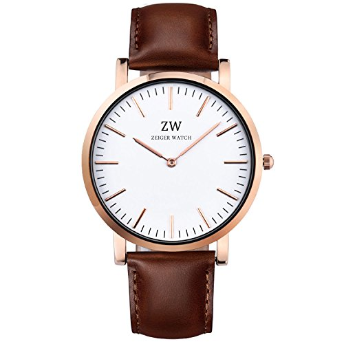 Zeiger Women Watches White Dial Analog Quartz Lady Watch Casual Business Watches for Men Women with Brown Leather Strap (Rose Gold)