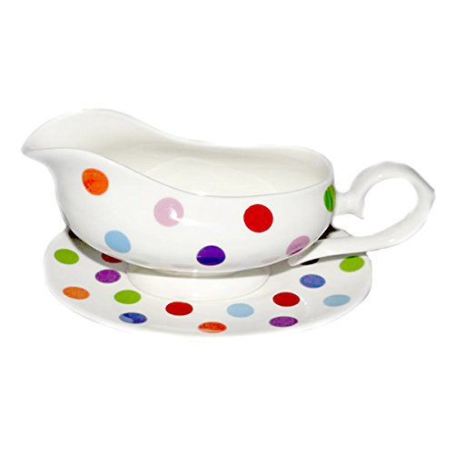 Bone china Multispots GRAVY BOAT AND STAND- Hand Decorated Stocked by Kirsty Jayne China