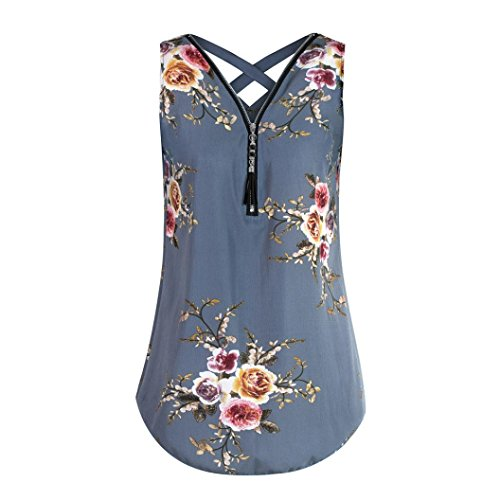 TOOPOOT Women Summer Vest,Womens Fashion Pullover Camisole Print Flower Sleeveless Zipper V-Neck T Shirts Tops ()