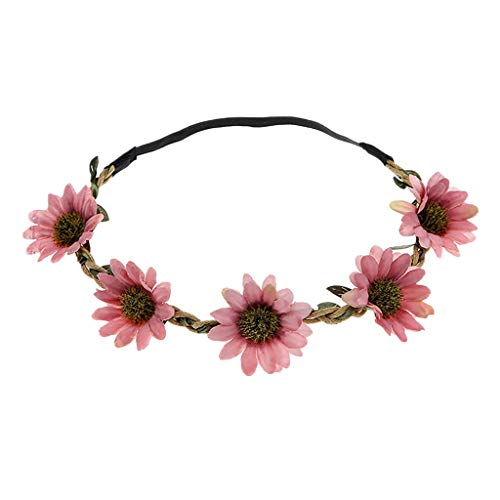 NEARTIMEColored Flower Crown Wreath Headband Garland Headbands for Wedding Festival Party Vacation Photography Props