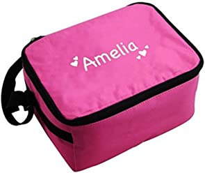 Childrens Personalised Pink Girls Lunch Bag for School White Hearts Box by BCBGMAXAZRIA