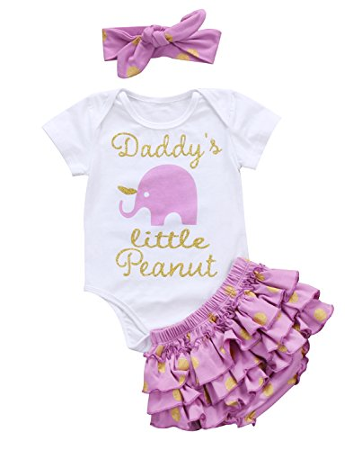 Cute Baby Girl Daddy's Girl Print Bow Romper+Multi-Tulle Ruffle Bowknot Shorts Outfit (6-12 Months, Purple Elephant) -