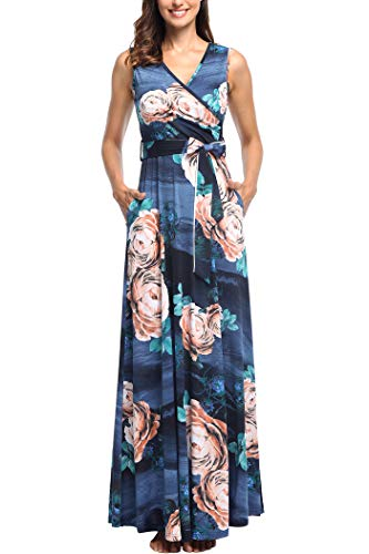 (Comila Floral Dresses for Women, Petite Summer Sleeveless Maxi Dresses Boho V Neck Jersey Casual Business Work Office Flowying Long Floral Dress Blue/Pink S (US 4-6))