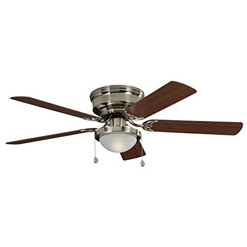 Harbor Breeze Armitage 52-in Brushed Nickel Indoor Flush Mount Ceiling Fan with Light Kit