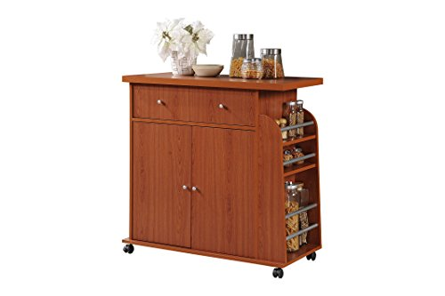 HODEDAH IMPORT Kitchen Island with Spice Rack and Towel Rack, -