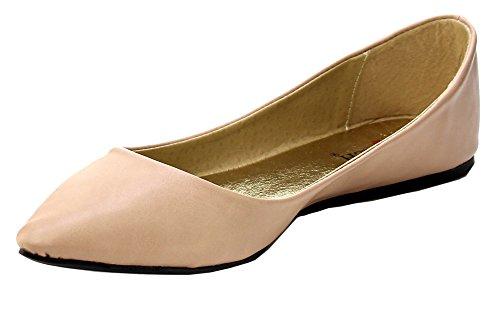 Ballet Sexy Flats - Elegant Footwear Women's Ember-2018 Pointed Toe Leatherette Ballet Flat,10 B(M) US,Nude
