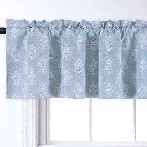 KEQIAOSUOCAI Vintage Printed Pattern Window Treatments Medallion Curtain Valances for Kitchen/Bathroom/Living Room (Rod Pocket, 52 by 18 Inch, Aqua Blue Vintage Floral