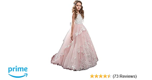 e22227252 Amazon.com  Flower Girl Dress Kids Lace Beaded Pageant Ball Gowns ...