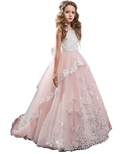 Fancy Flower Girl Dress Kids Lace Applique Pageant Party Ball Gown Blush Pink Size -