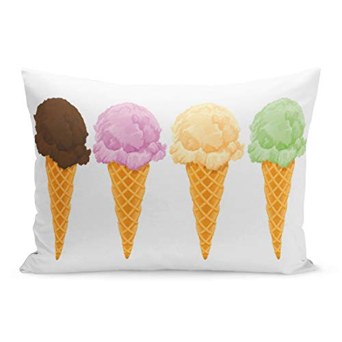 Aikul Throw Pillow Covers Dessert Ice Cream Cones Summer Chocolate Sweets National Pillow Case Cushion Cover Lumbar Pillowcase Decoration for Couch Sofa Bed Car,20 x 26 inchs