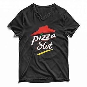 Pizza Slut Lover Adult Humor Gift Camiseta de Manga Corta con Cuello en v para Hombre