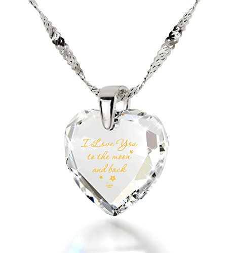 925 Sterling Silver Heart Necklace I Love You to The Moon and Back Pendant Gold Inscribed Clear CZ, 18