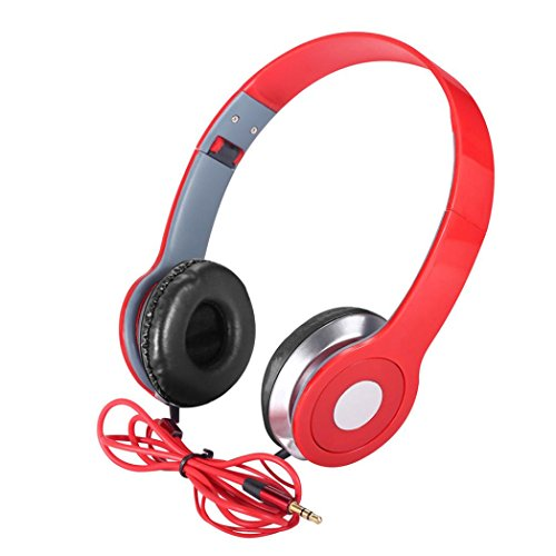 Price comparison product image Boofab Over-Ear Teens Kids Childs Foldable DJ Headphones 3.5mm Wired Game Earphones for apple iPhone 8 8 plus 7 7 plus and Samsung Galaxy Note8 S7 S8 and Android Phones (Red)