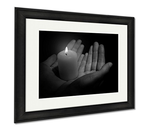 Ashley Framed Prints Burning Candle In Hands Isolated On Black, Office/Home/Kitchen Decor, Black/White, 30x35 (frame size), Black Frame, AG6514333 by Ashley Framed Prints