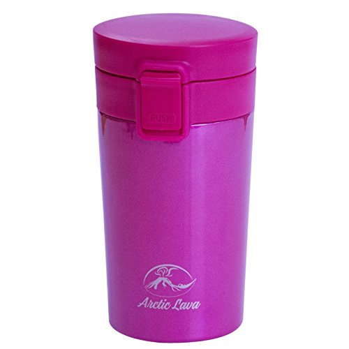 Arctic Lava 10 OZ / 320 ML Double Wall Vacuum Insulated 18/8 Stainless Steel Travel Tumbler Coffee/Tea Mug with Leak Proof Locking Lid (10 oz / 320 ml, Red)