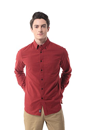NP-12 Men's Long Sleeve Flannel Shirts(S, Red)